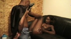 Petite chocolate girl has a dark stick working its magic in her pussy