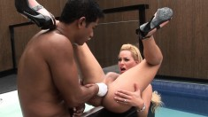 Latina shemale gives him head before she hops on to get her ass fucked
