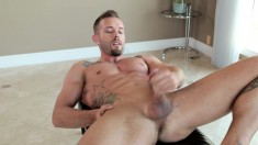 Handsome stud Pierre exposes his fabulous body and strokes his shaft