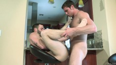 Two tattooed hunks open their legs wide for intense gay oral and anal sex