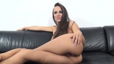 Elegant brunette with big tits Mea Melone hangs on for a hard fucking