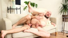 Bearded Older Dude Moans While Getting His Stiff Prick Worked