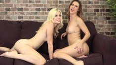 Two attractive girls fuck each other with sex toys and cum together