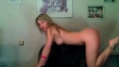 Teen busty blonde striptease