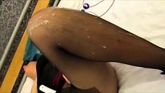 Cumming On Slut In Sheer Pantyhose