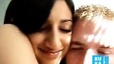 Indian Woman kissing her white boyfriend Desi NRI