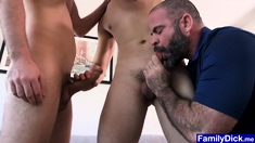 Stepdad shows twinks how to get their cocks in and fuck