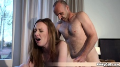 Old Grandpa Helps A Teen To Train Her Fresh Pussy