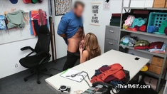 MILF with round ass and tits ends up sucking officers dick